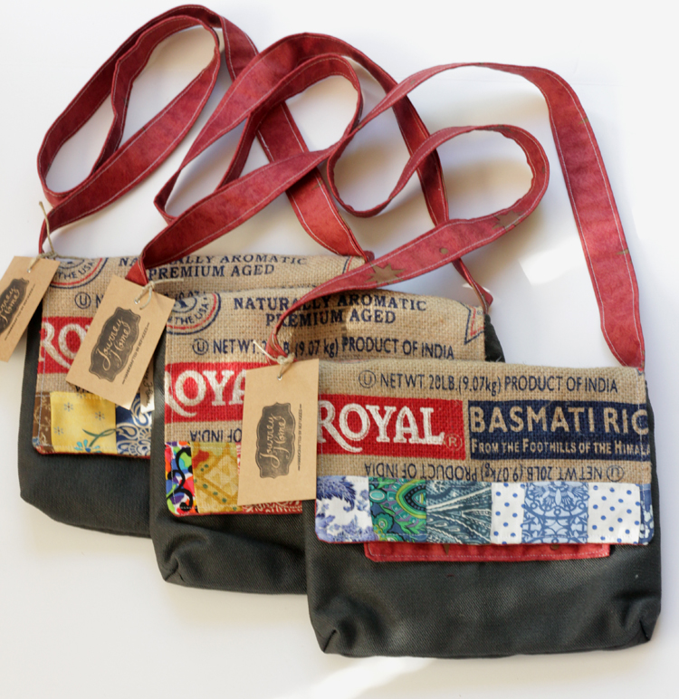 Purses made from upcycled used rice bags